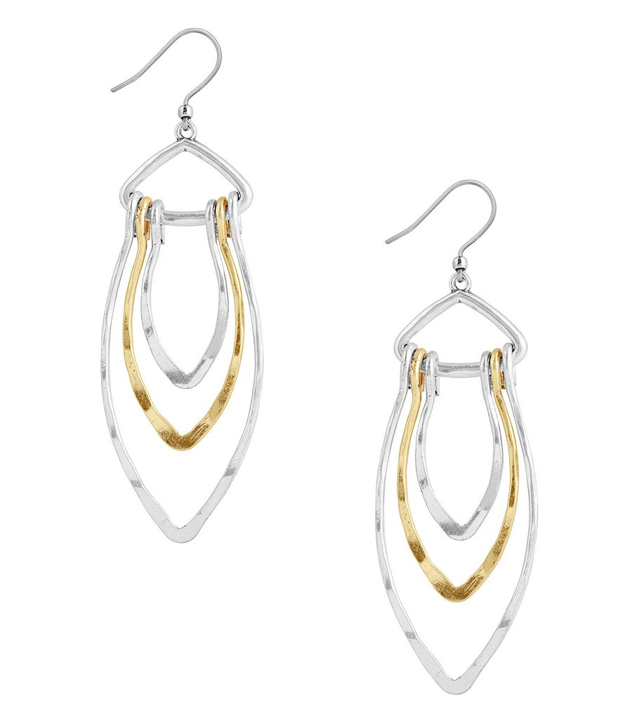 Lucky Brand Hammered Petal Drop Earrings