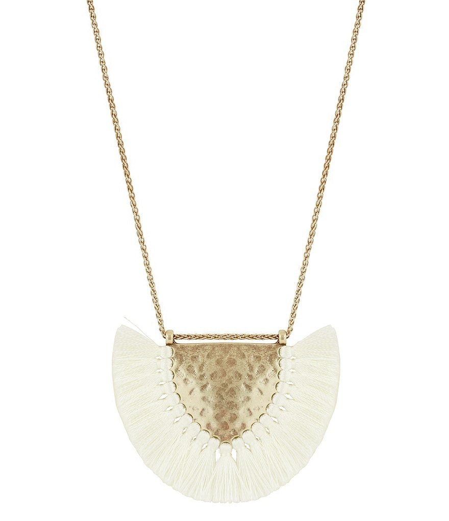 Lucky Brand Tasseled Hammered Pendant Necklace