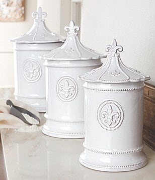 Mud Pie Fleur de Lis Glazed Terracotta Canisters, Set of 3