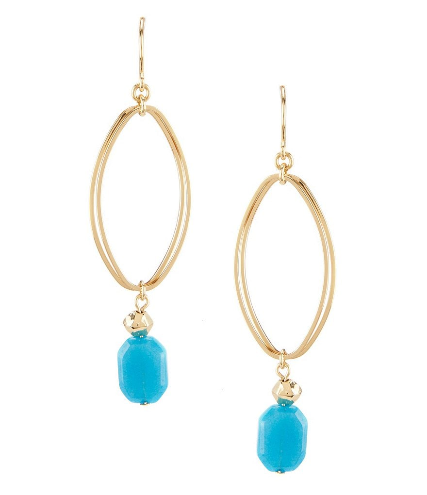 dillard 180 s tailored oval links turquoise bead drop earrings