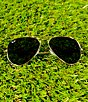 Color:Gold/Grey - Image 2 - Ray-Ban Classic Aviator UVA/UVB Protection Flash Lens Sunglasses