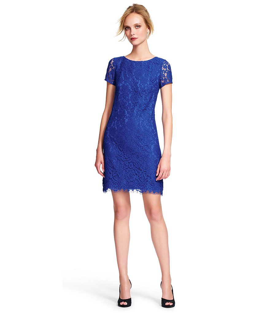 Adrianna Papell Allover Lace Shift Dress