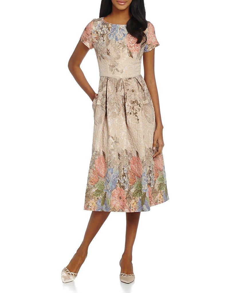 Adrianna Papell Beaded Floral Print Dress   Dillards