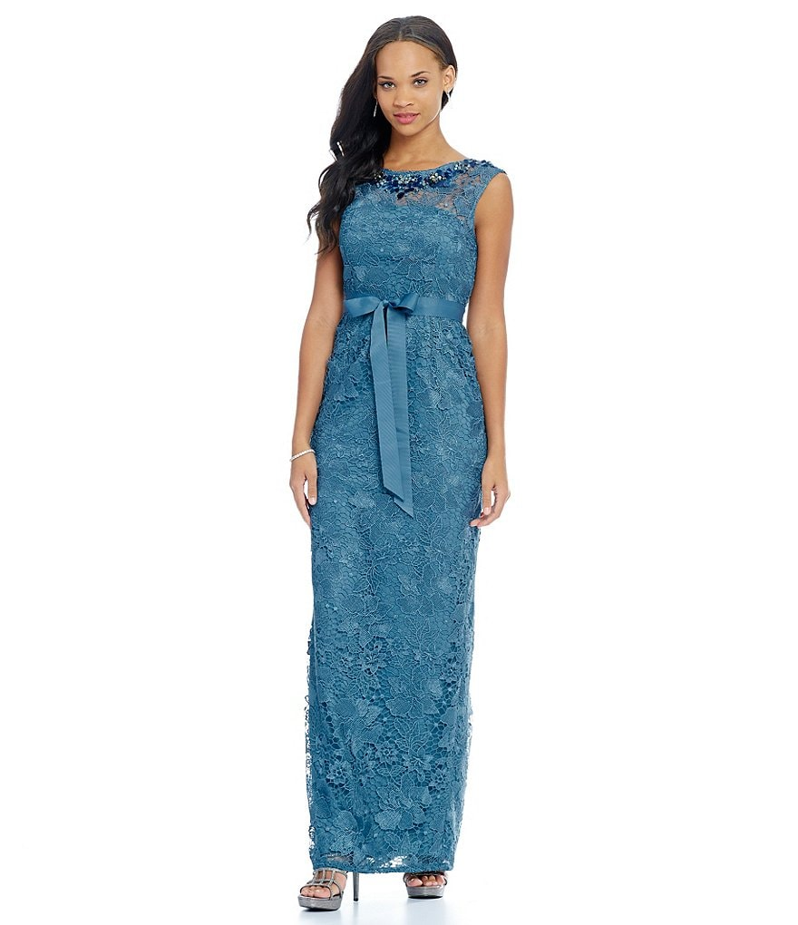 Adrianna Papell Beaded Lace Column Gown