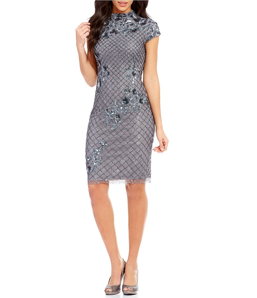 Adrianna Papell Beaded Mock Neck Sheath Dress   Dillards