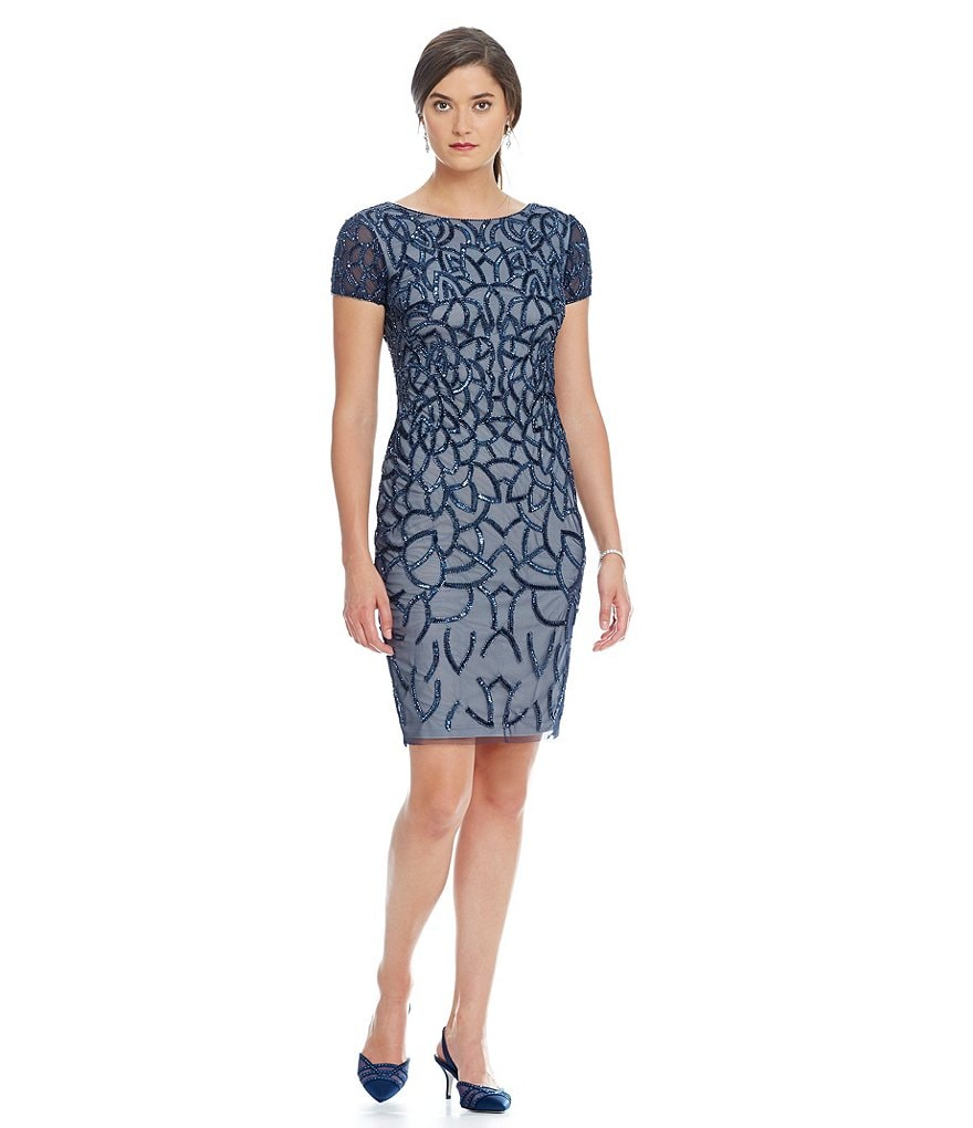 Adrianna Papell Beaded Short Sleeve Cocktail Dress