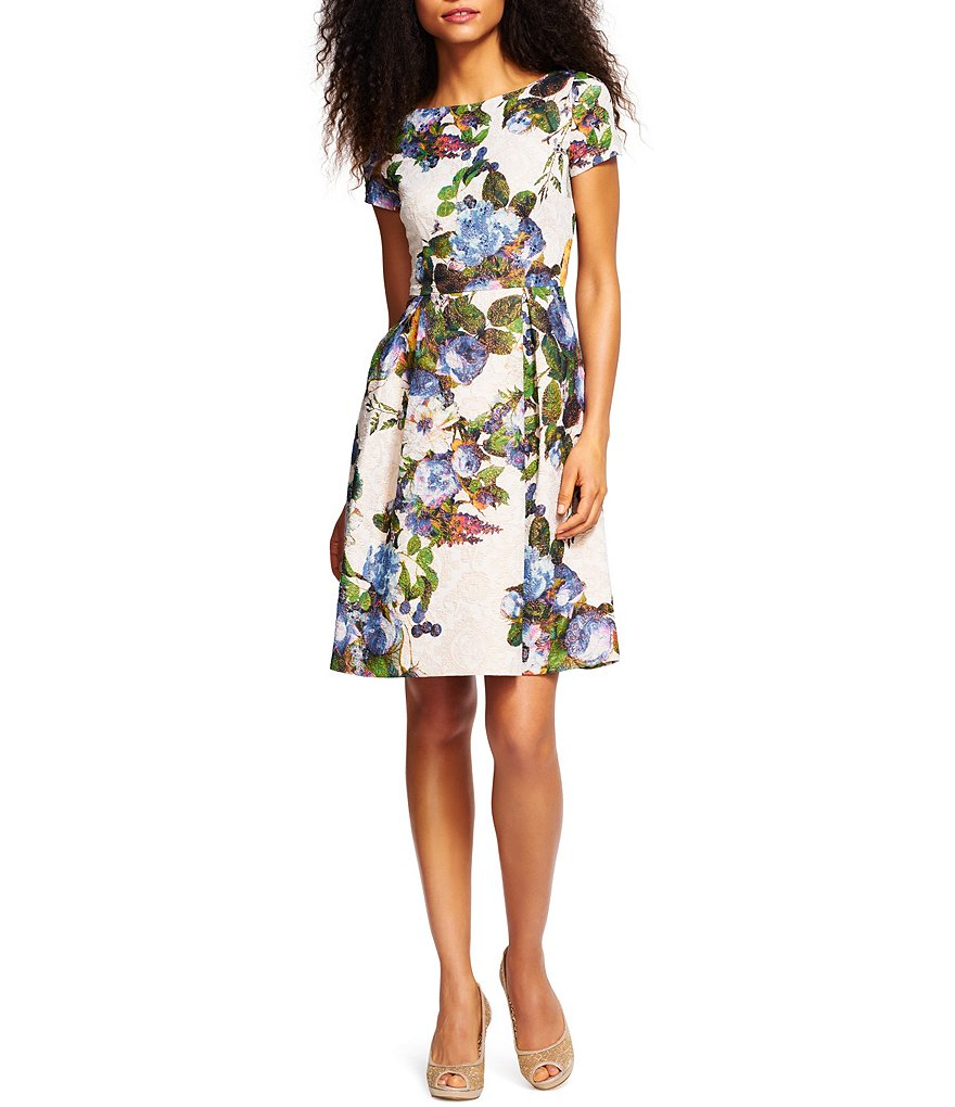 Adrianna Papell Boat Neck Fit-And-Flare Jacquard Party Dress