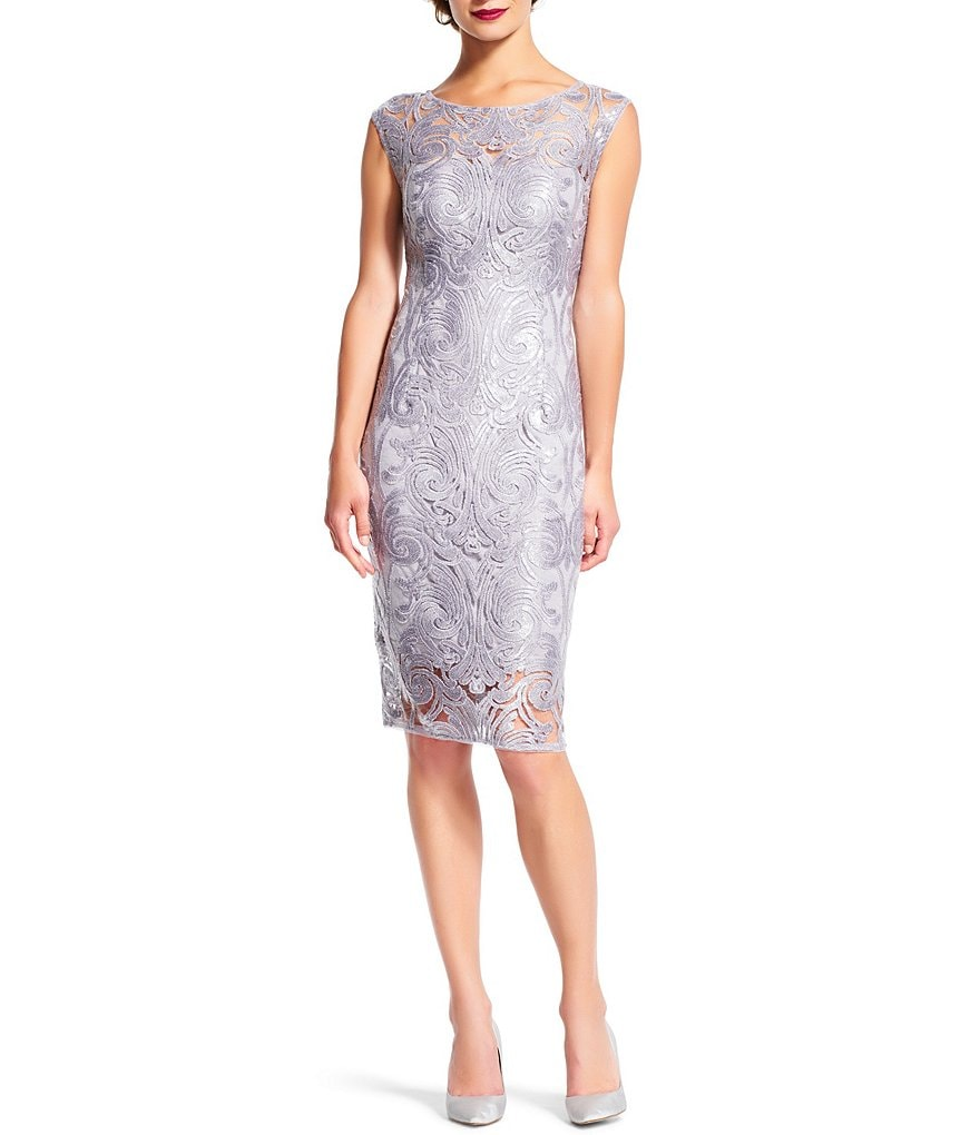 Adrianna Papell Cap Sleeve Sequined-Lace Sheath Dress