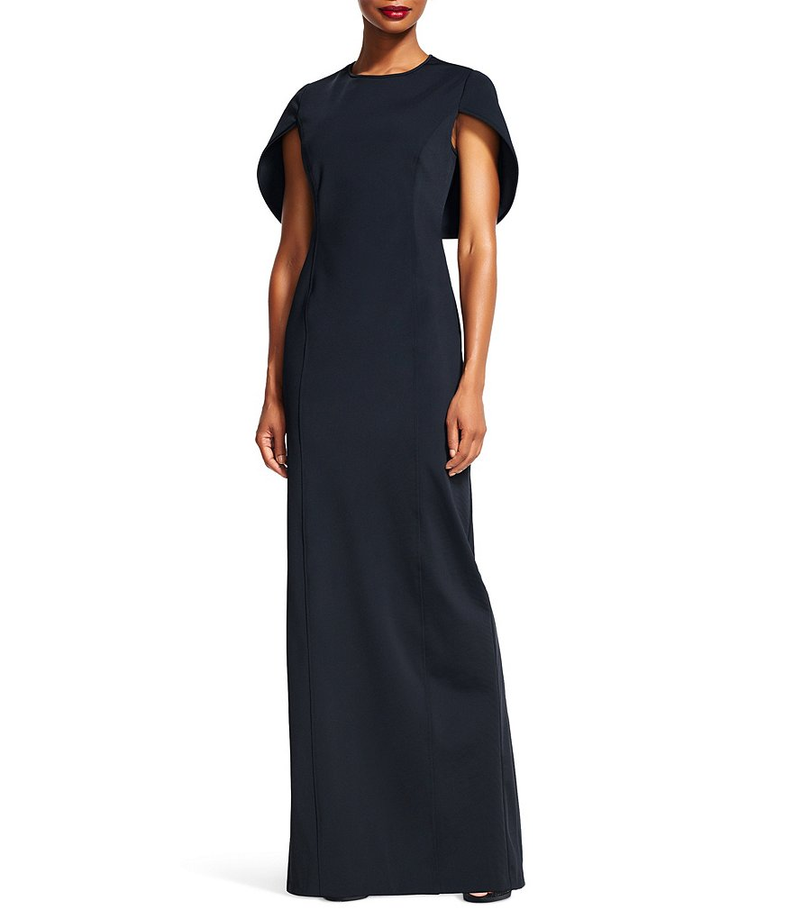 Adrianna Papell Capelet Column Gown