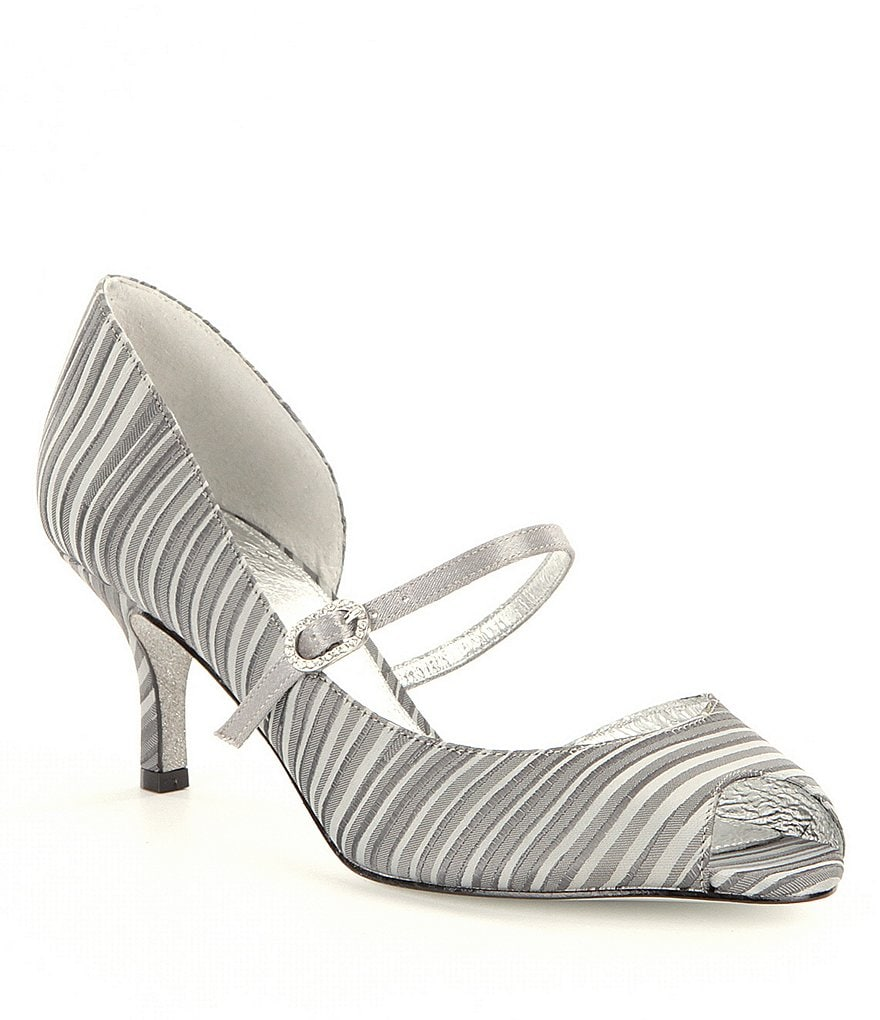 Adrianna Papell Janet Leather Stripe Peep Toe Mary Jane Pumps
