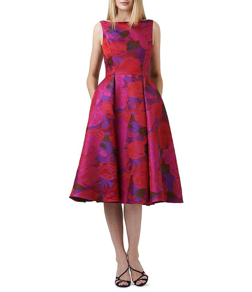 Adrianna Papell Midi Floral Dress   Dillards