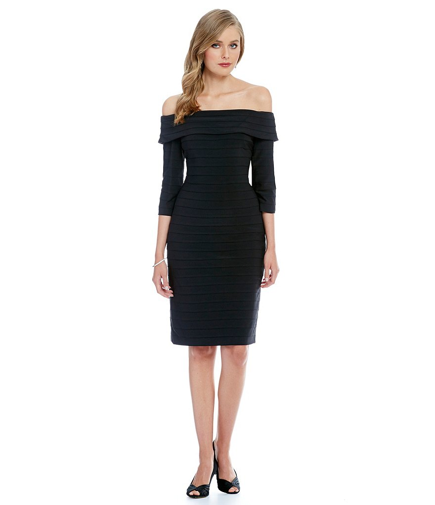 Adrianna Papell Off the Shoulder Banded Sheath Dress