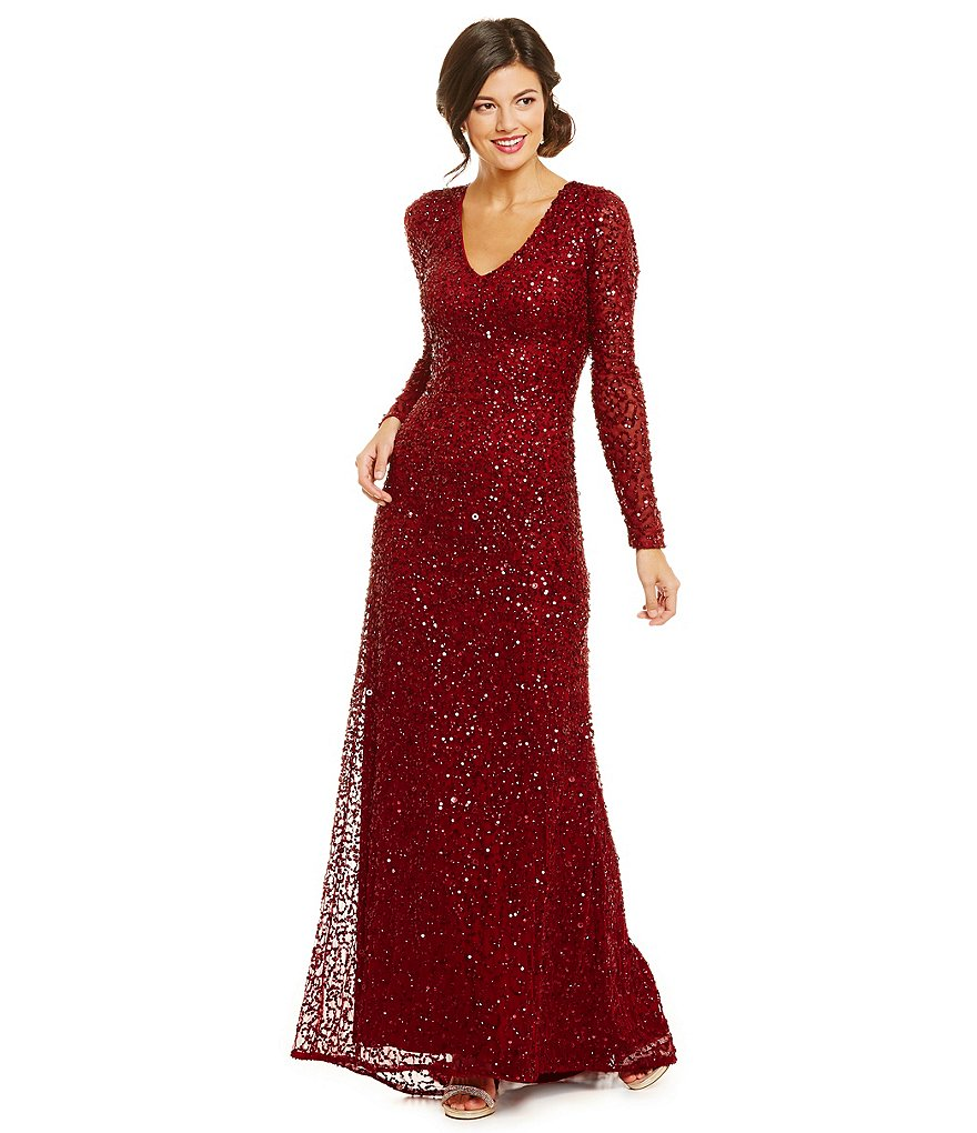Adrianna Papell Petite V-Neck Long Sleeve Beaded Gown