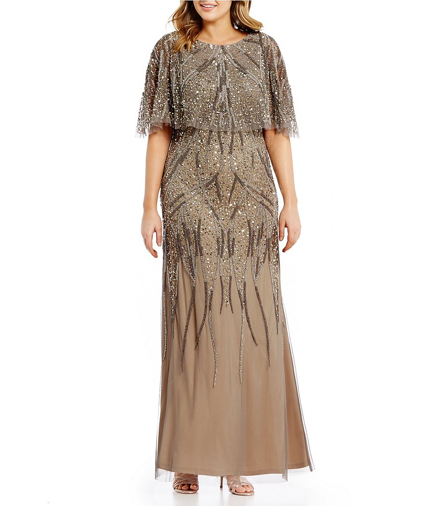 Adrianna Papell Plus Beaded Capelet Gown   Dillards