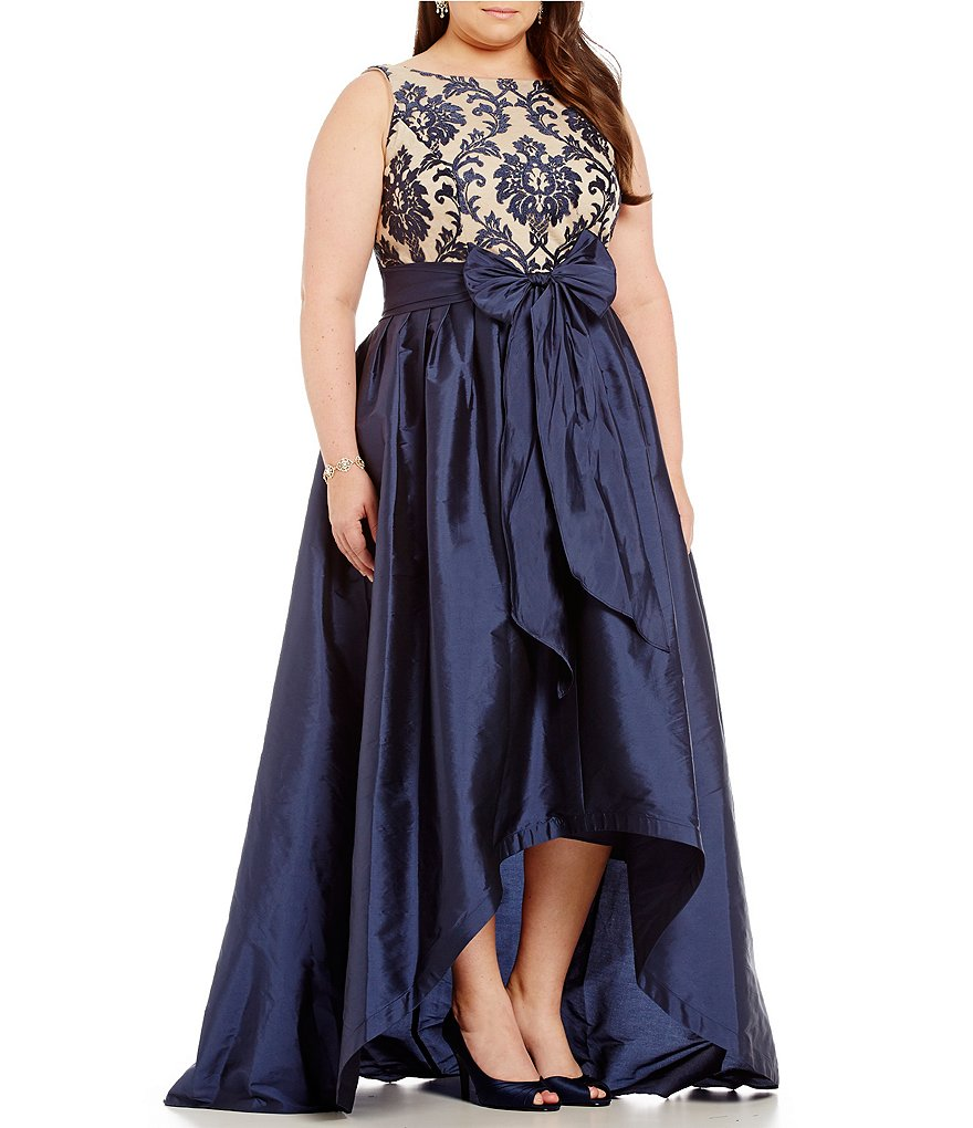 Adrianna Papell Plus Embroidered Lace Taffeta High-Low Ball Skirt