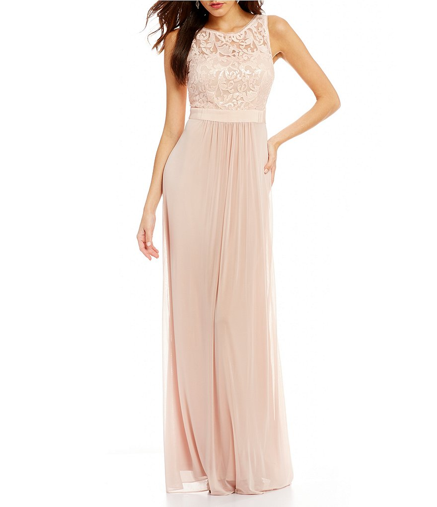 Adrianna Papell Sequin Lace Chiffon Gown Dillards