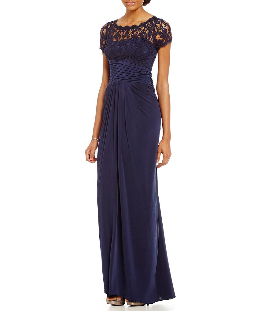 Adrianna Papell Cap Sleeve Illusion Lace Gown Dillards