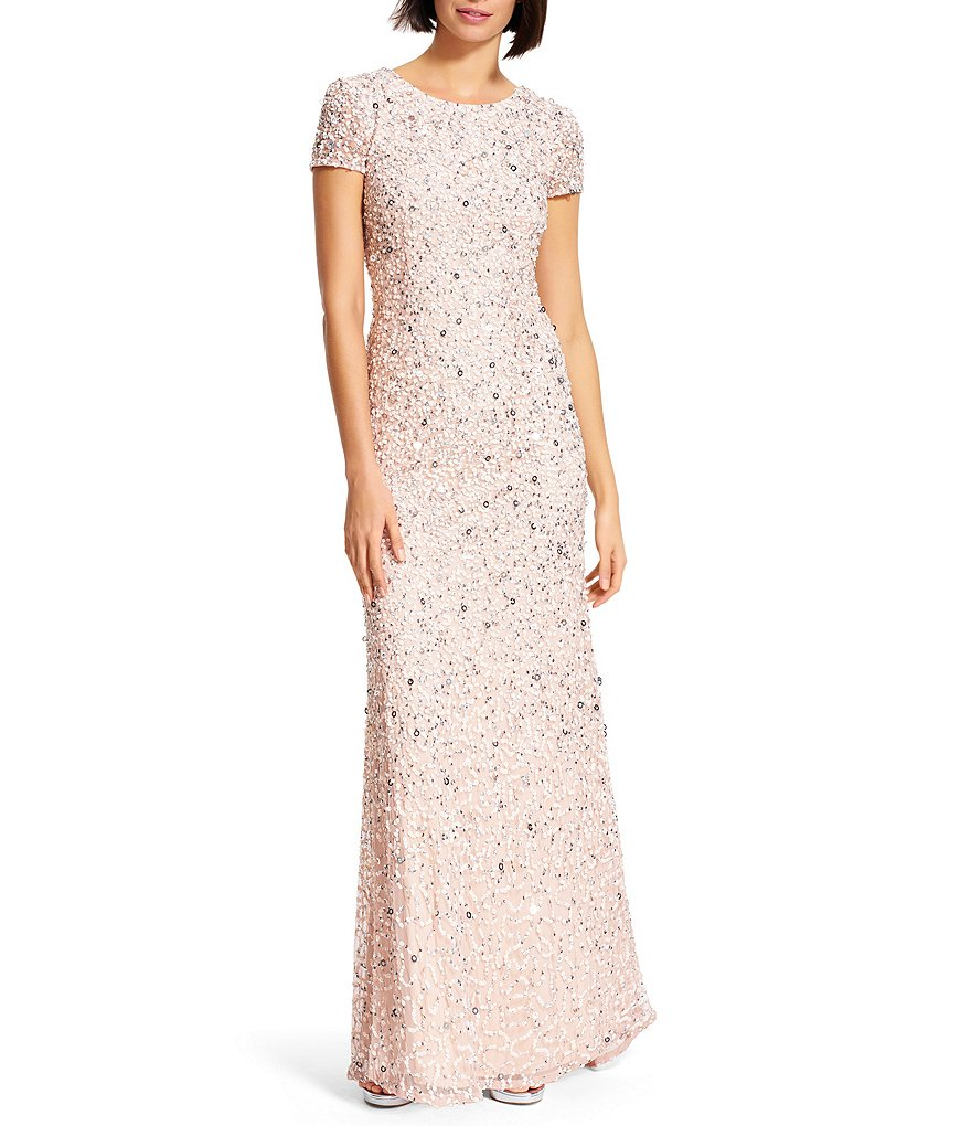 Adrianna Papell Short-Sleeve Sequined Long Skirt Gown   Dillards