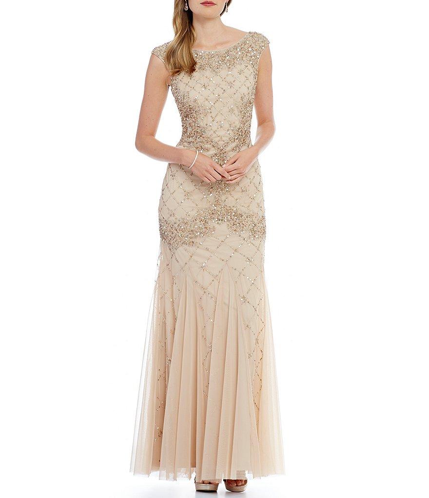 Adrianna Papell Sleeveless Fully Beaded Gown   Dillards
