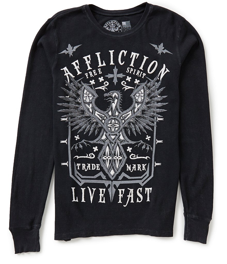 Affliction Long-Sleeve Distressed Flocked Graphic Thermal