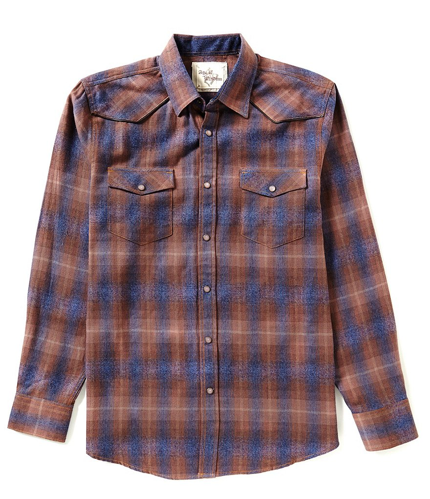 Age of Wisdom Long-Sleeve Plaid Woven Shirt