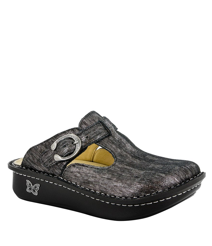 Alegria Classic Leather Buckled Strap Clogs
