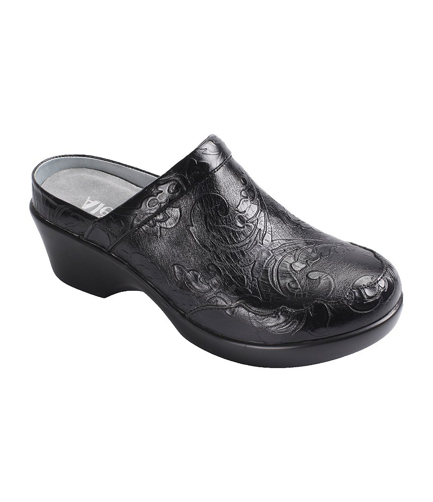 Alegria Isabelle Tooled Leather Clogs