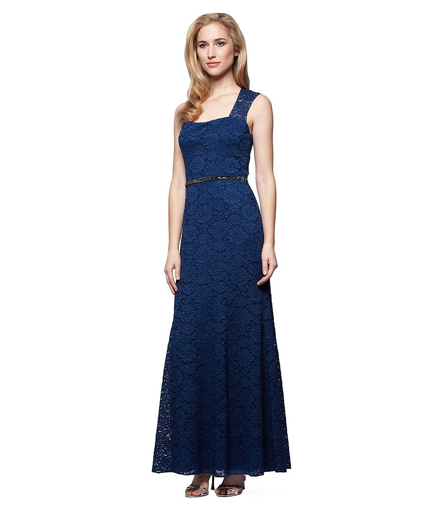 Alex Evenings Cap Sleeve Square Neck Lace Gown