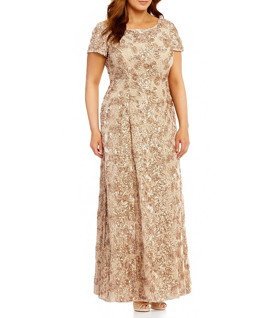 Alex Evenings Plus A-Line Rosette Gown