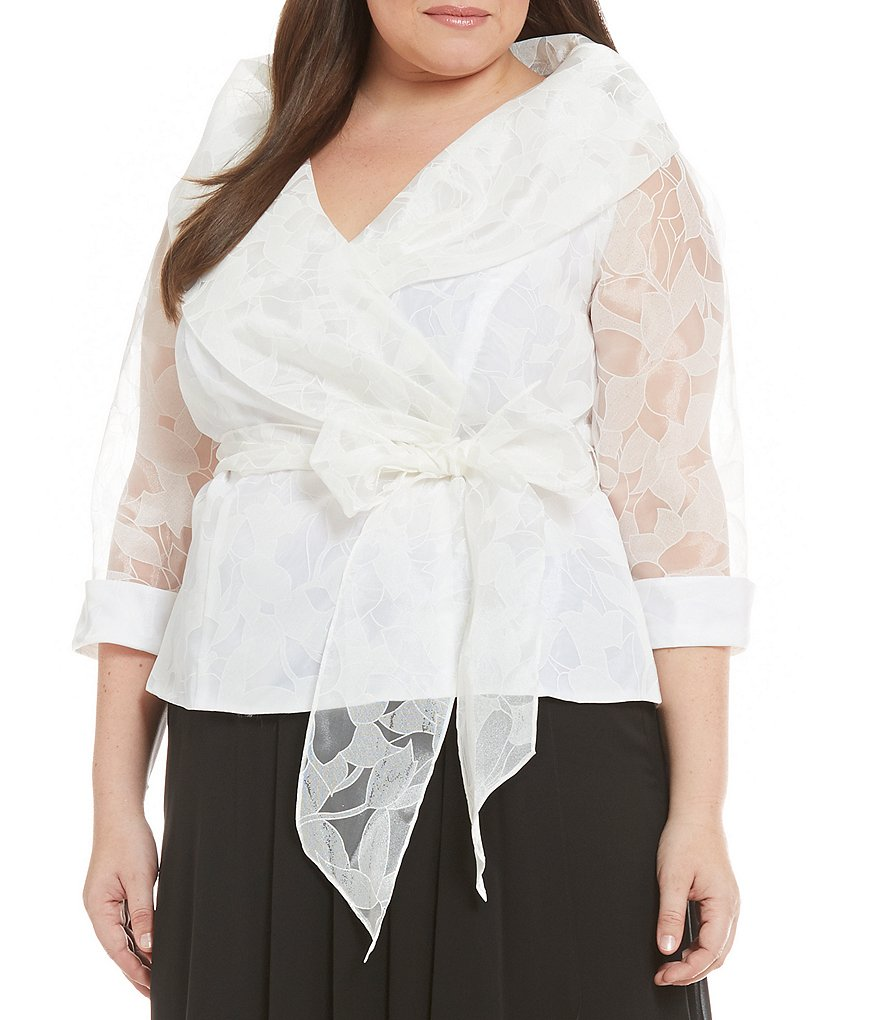 Alex Evenings Plus Illusion Sleeves Blouse