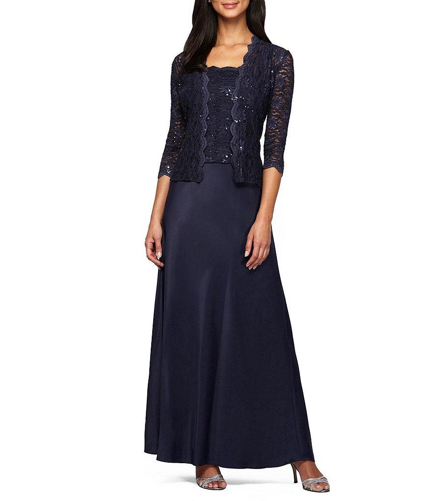 Alex Evenings Sequin A Line Jacket Dress Dillards