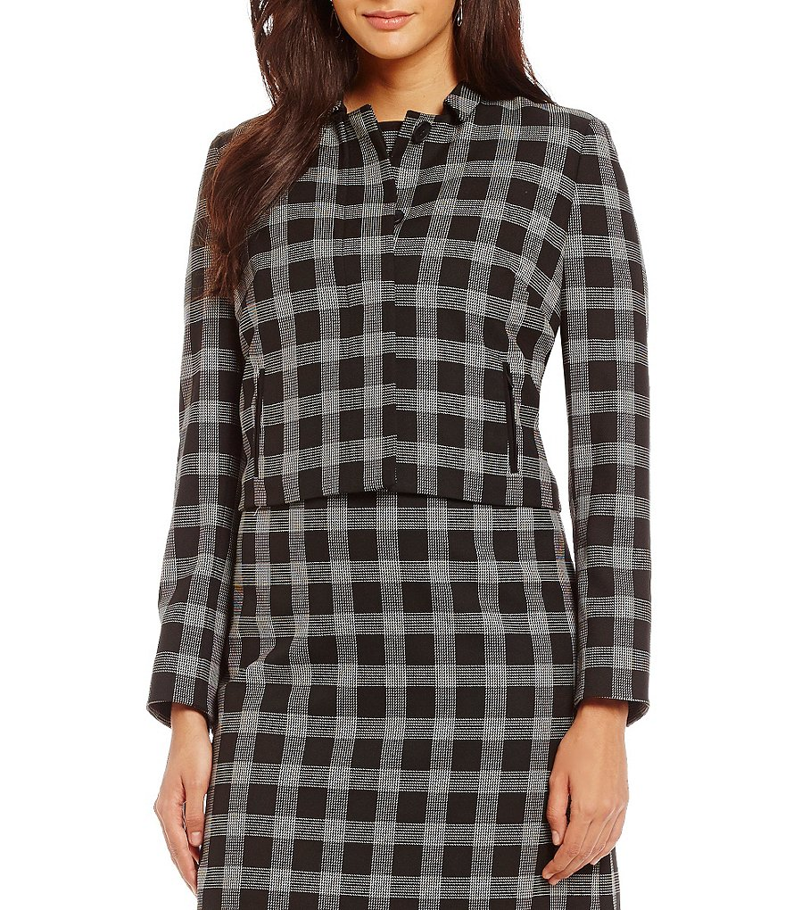 Alex Marie Aesthetic Allure Evelyn Windowpane Crop Jacket