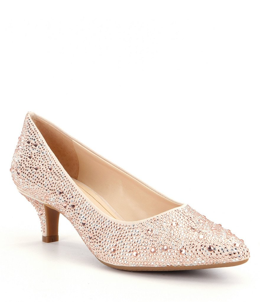 Gold Low Heel Shoes