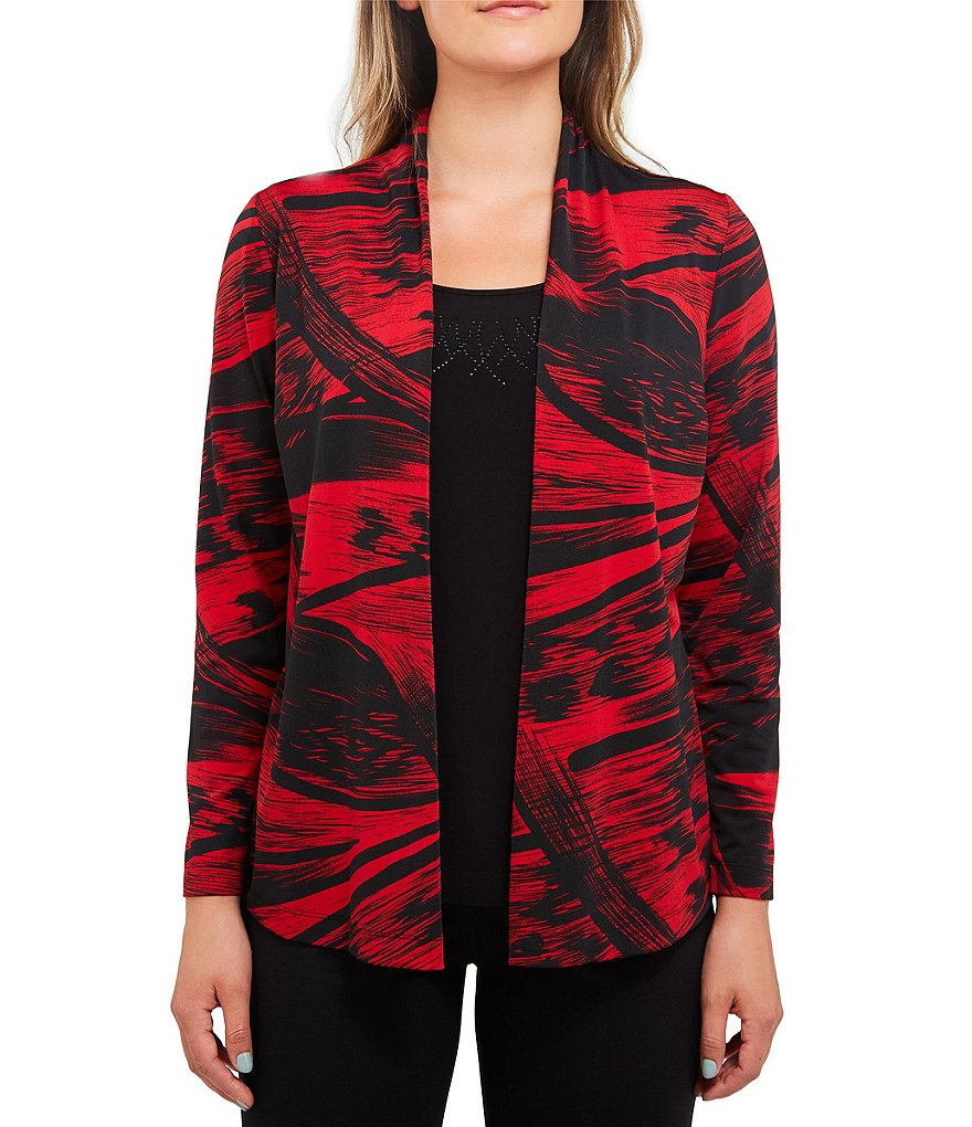 Allison Daley Abstract Print Embellished Detail Open Front Cardigan Fooler