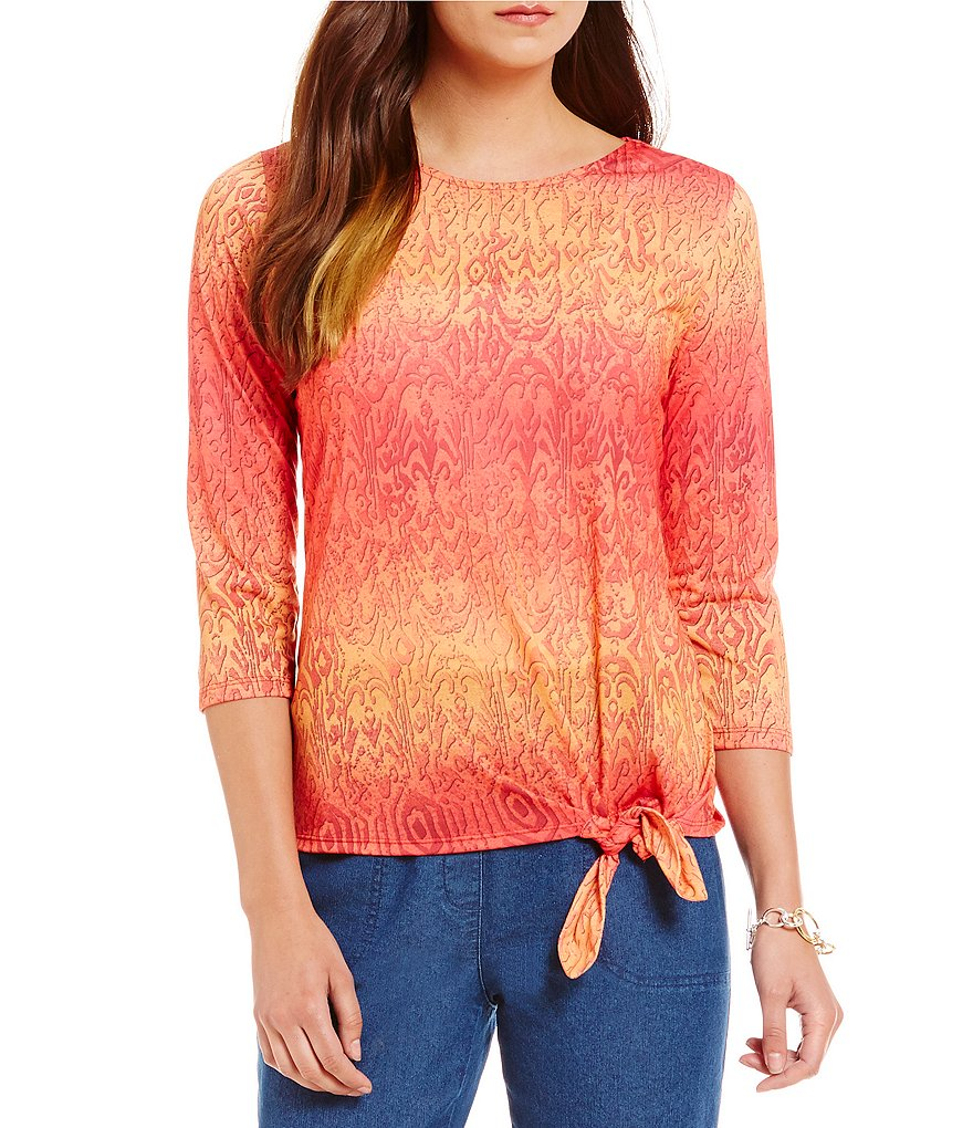 Allison Daley Petite Wide Crew-Neck Side Tie Knit Top