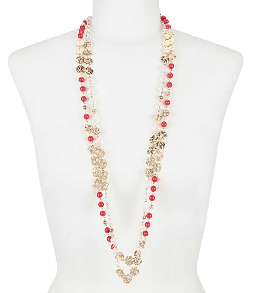 Anna & Ava Bead & Coin Long Necklace