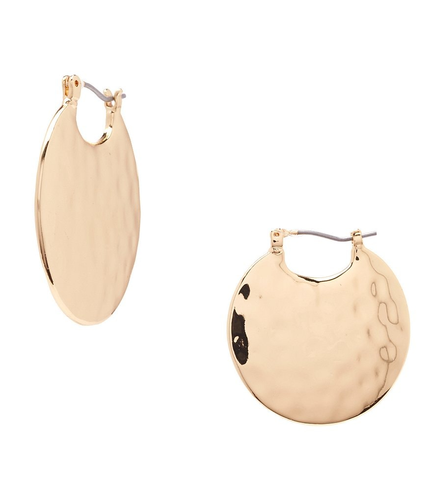 Anna & Ava Hammered Disc Hoop Earrings