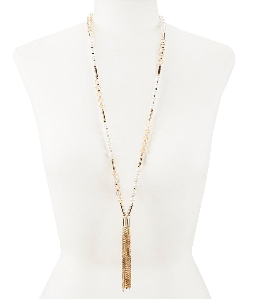 Anna & Ava Faux-Pearl Beaded Tassel Necklace