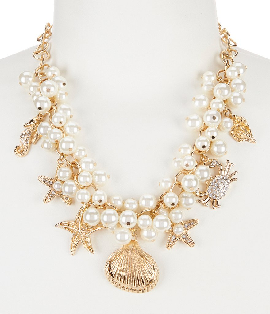 Anna & Ava Sea Life Faux-Pearl Cluster Statement Necklace