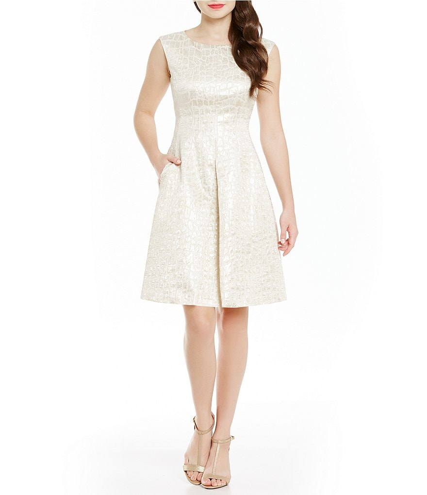 Anne Klein Brocade Fit-and-Flare Inverted Pleat Dress