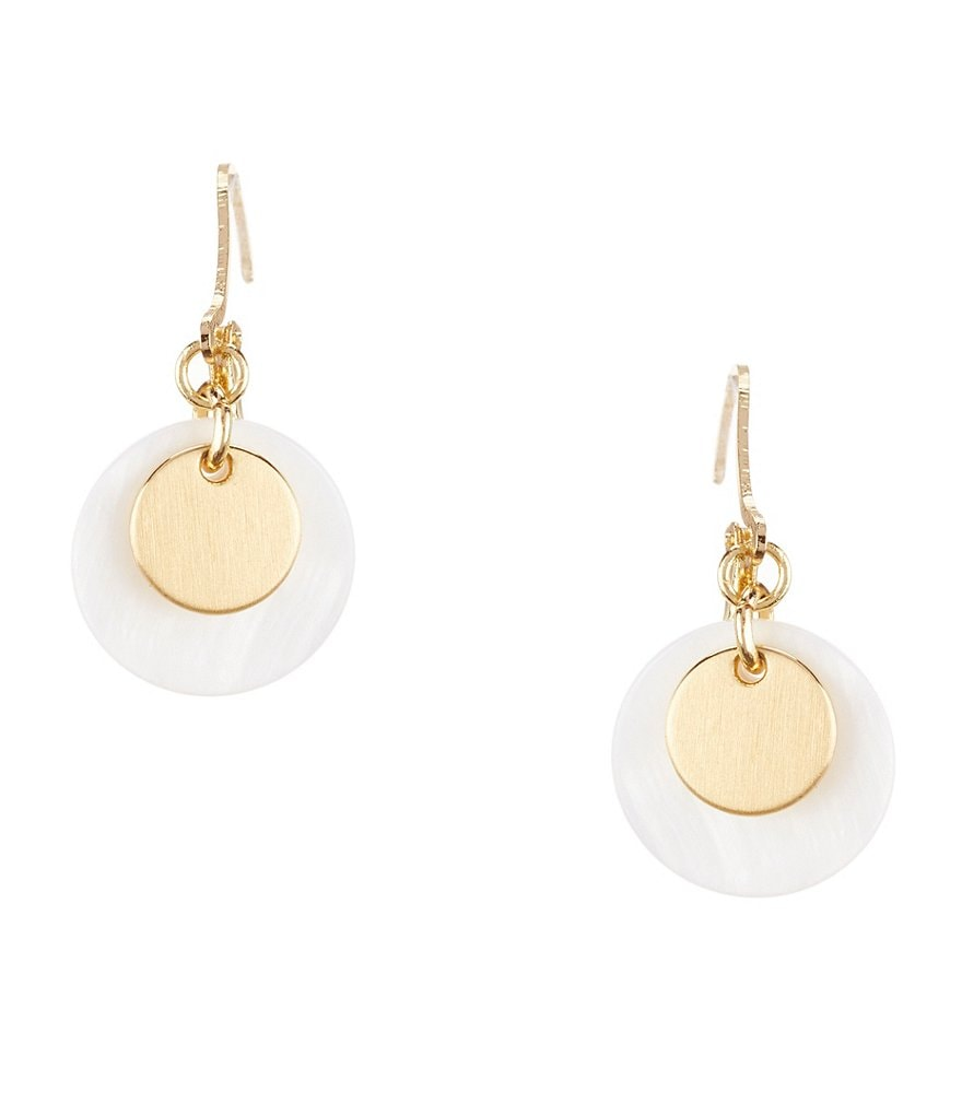 Anne Klein Mother-of-Pearl Disc Drop Earrings