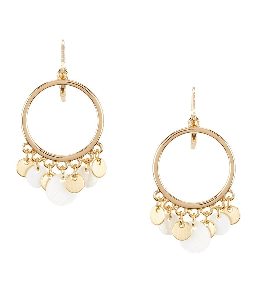 Anne Klein Mother-of-Pearl Shaky Disc Drop Hoop Earrings