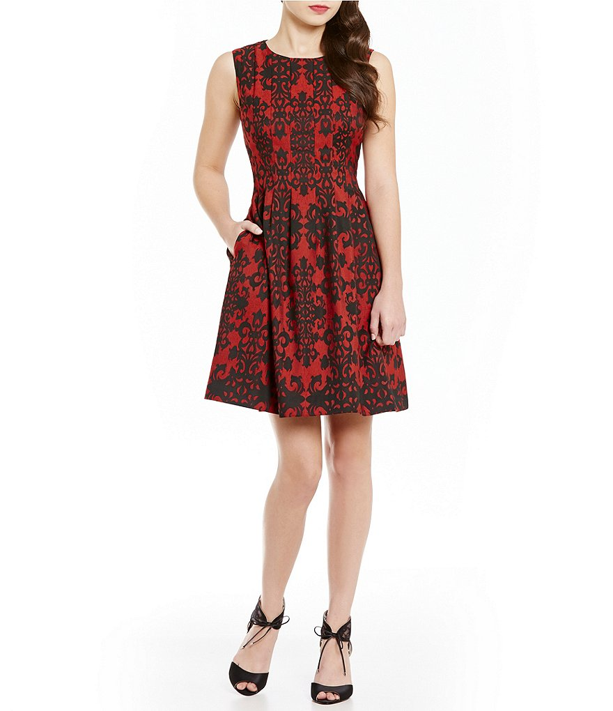 Anne Klein Novelty Jeweled Neck Jacquard Fit-And-Flare Dress