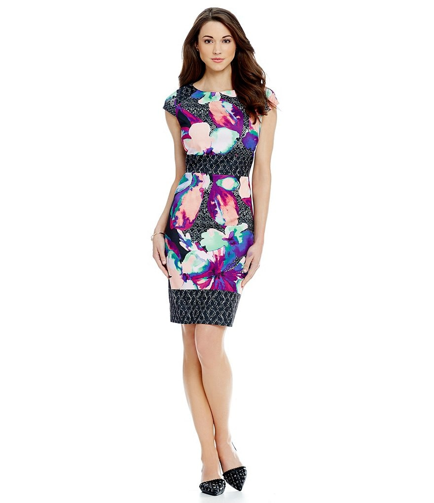 Antonio Melani Mika Printed Cap Sleeve Ponte Sheath Dress