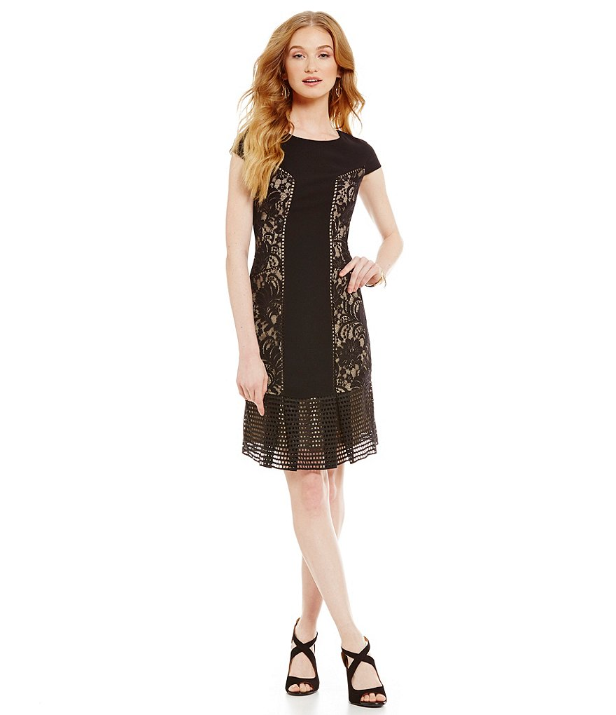 Antonio Melani Tancy Crepe Lace Cap Sleeve Dress