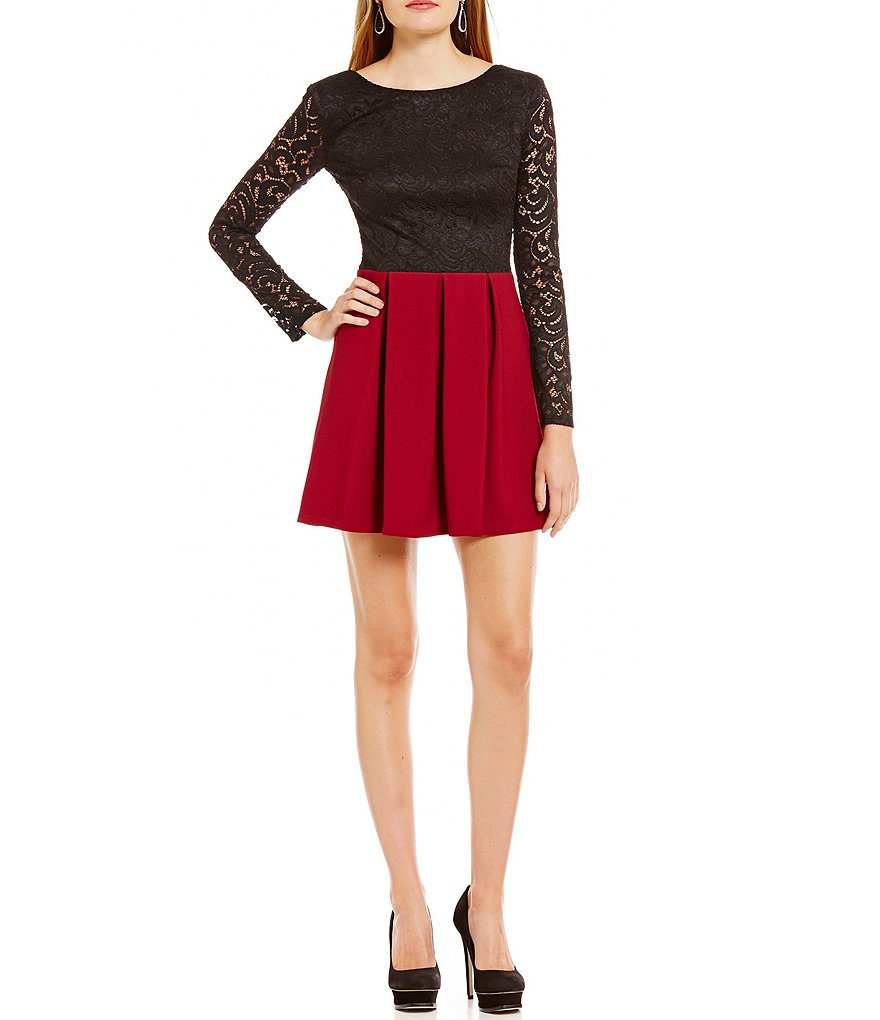 B. Darlin Illusion Long-Sleeve Lace To Scuba Skater Dress