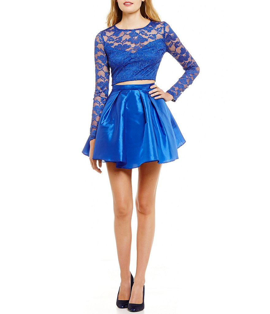 B. Darlin Long Sleeve Lace Top Two-Piece Party Dress