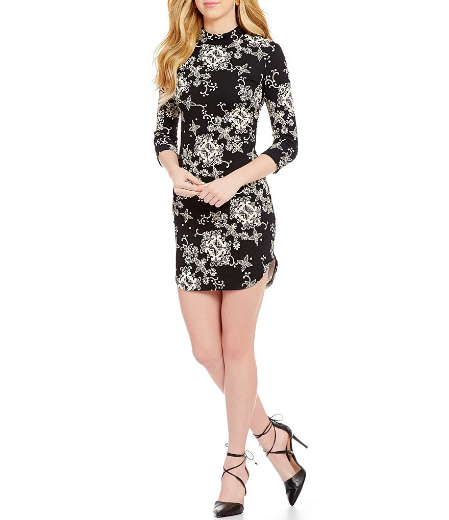 B. Darlin Scroll Pattern Mock Neck Sheath Dress