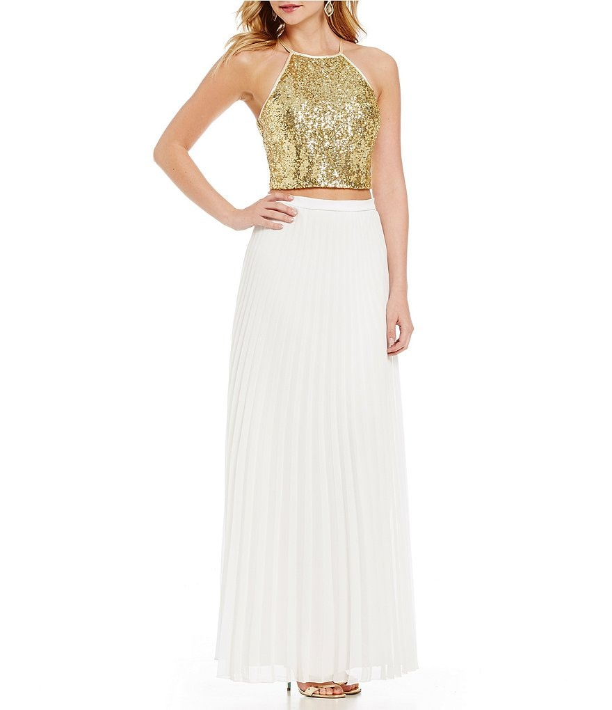 b darlin high neck sequin top to pleated skirt two