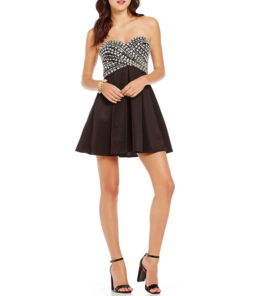 B. Darlin Strapless Sweetheart Wrap Jeweled Bodice Fit-and-Flare Dress